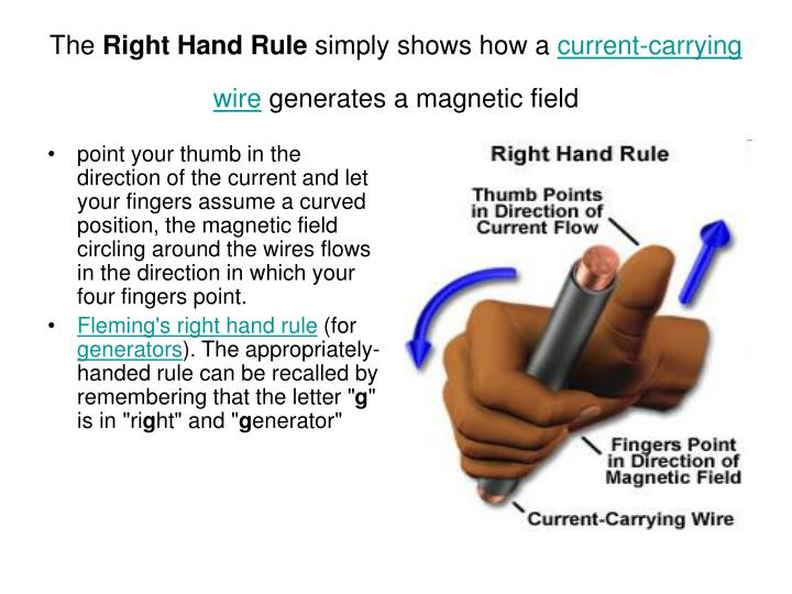 The right hand rule simply shows how a current carrying wire generates a magnetic field