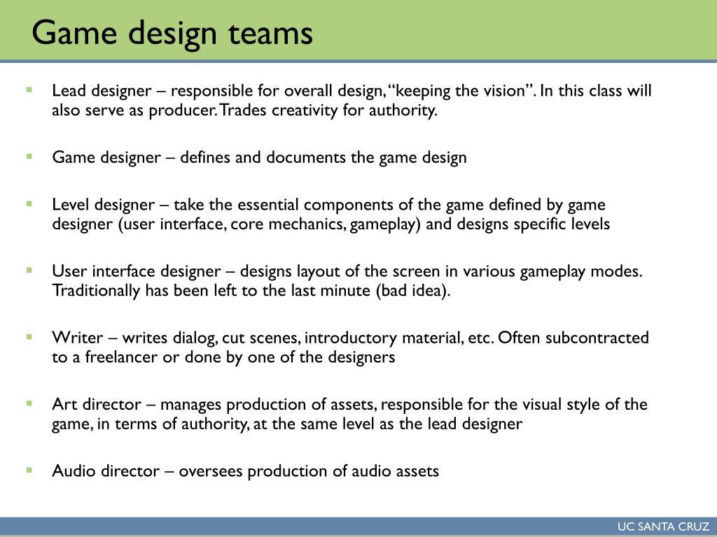 Game design teams