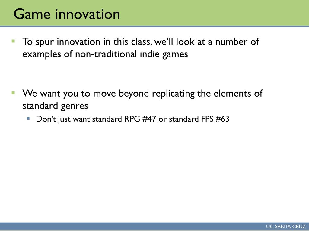 Game innovation