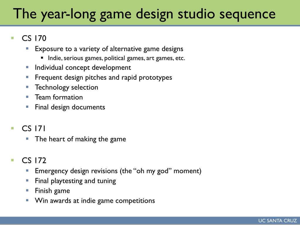 The year-long game design studio sequence