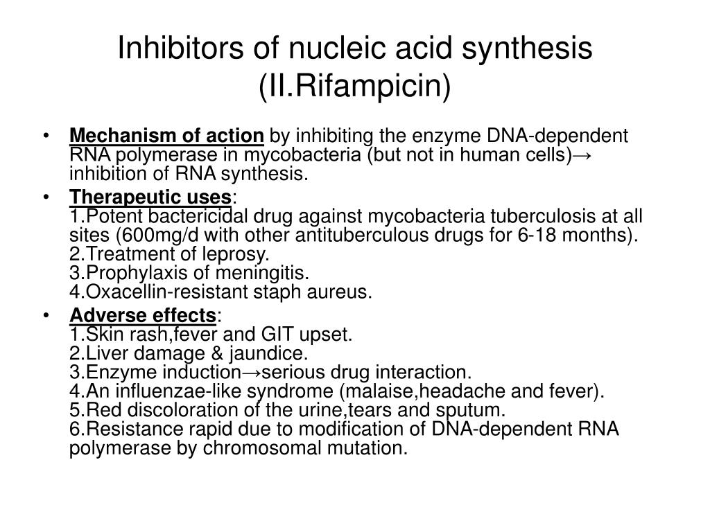 Inhibitors of nucleic acid synthesis (II.Rifampicin)
