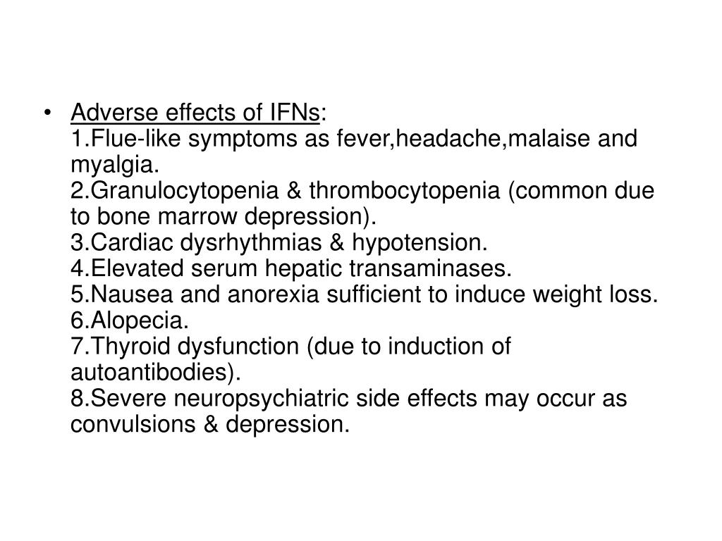 Adverse effects of IFNs