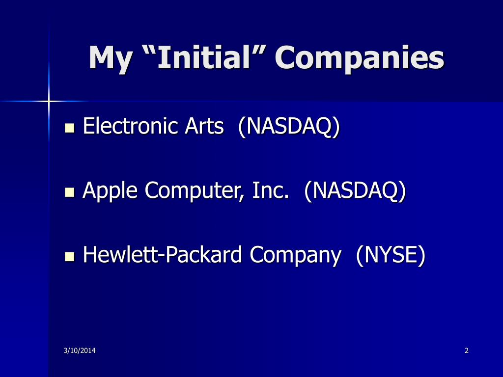 "My ""Initial"" Companies"