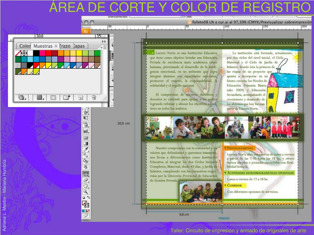 ÁREA DE CORTE Y COLOR DE REGISTRO