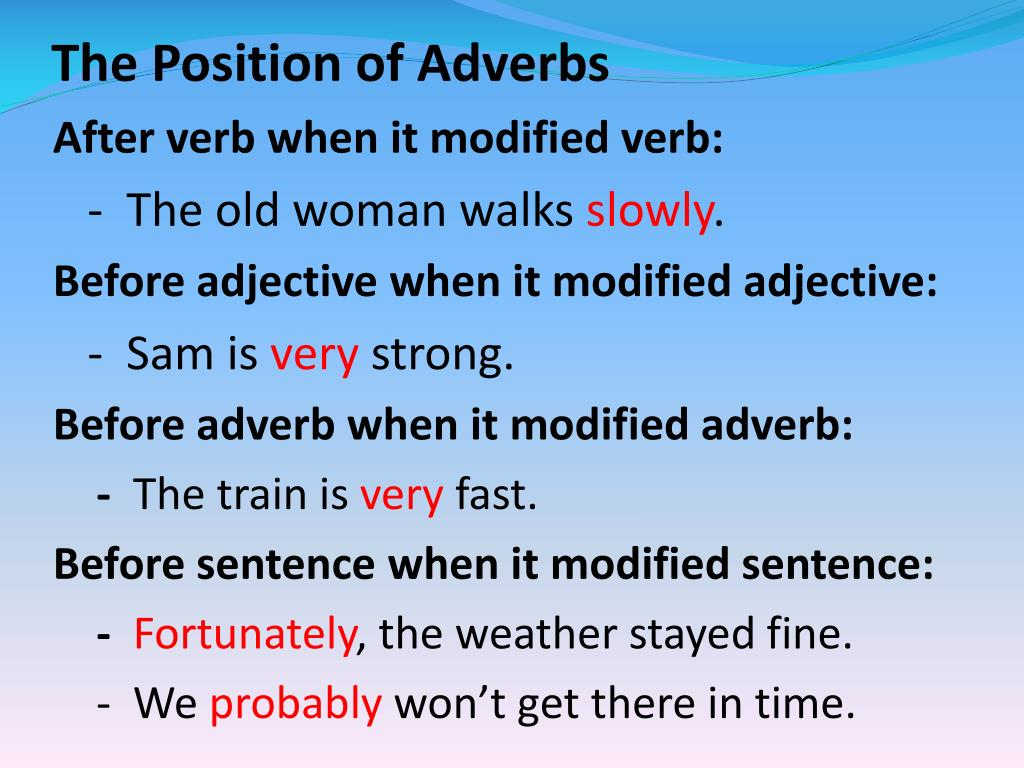 The Position of Adverbs