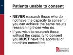 patients unable to consent