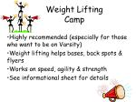 weight lifting camp