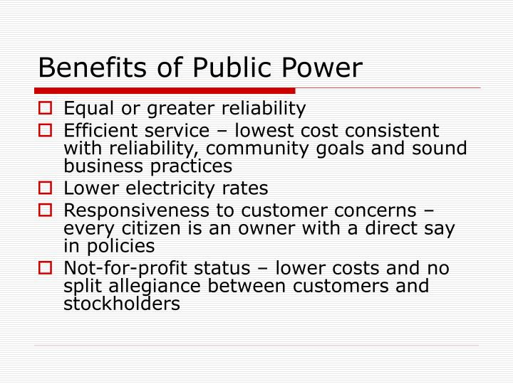 Benefits of public power