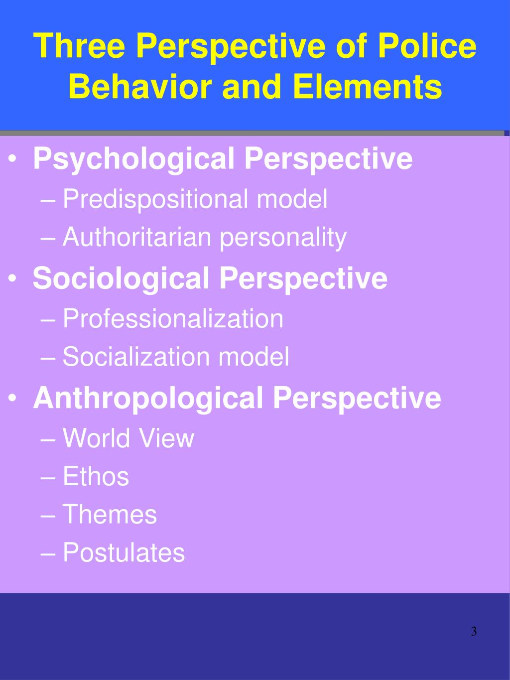 Three Perspective of Police Behavior and Elements