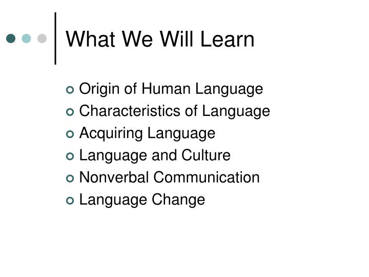 What we will learn