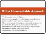 other unacceptable apparel