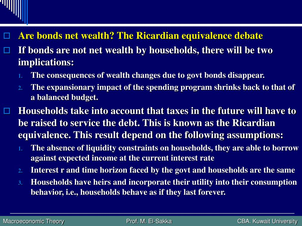 Are bonds net wealth? The Ricardian equivalence debate