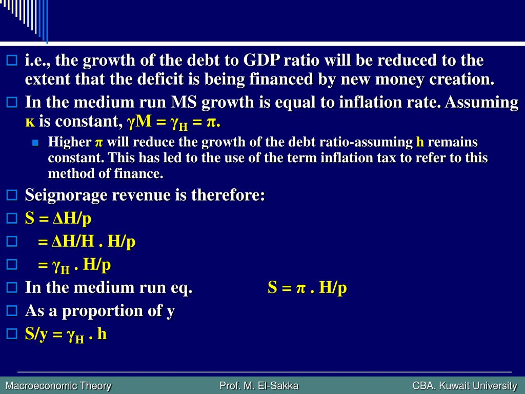 i.e., the growth of the debt to GDP ratio will be reduced to the extent that the deficit is being financed by new money creation.