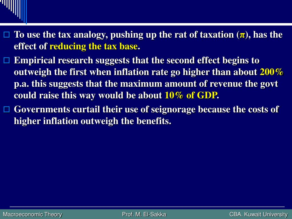 To use the tax analogy, pushing up the rat of taxation (