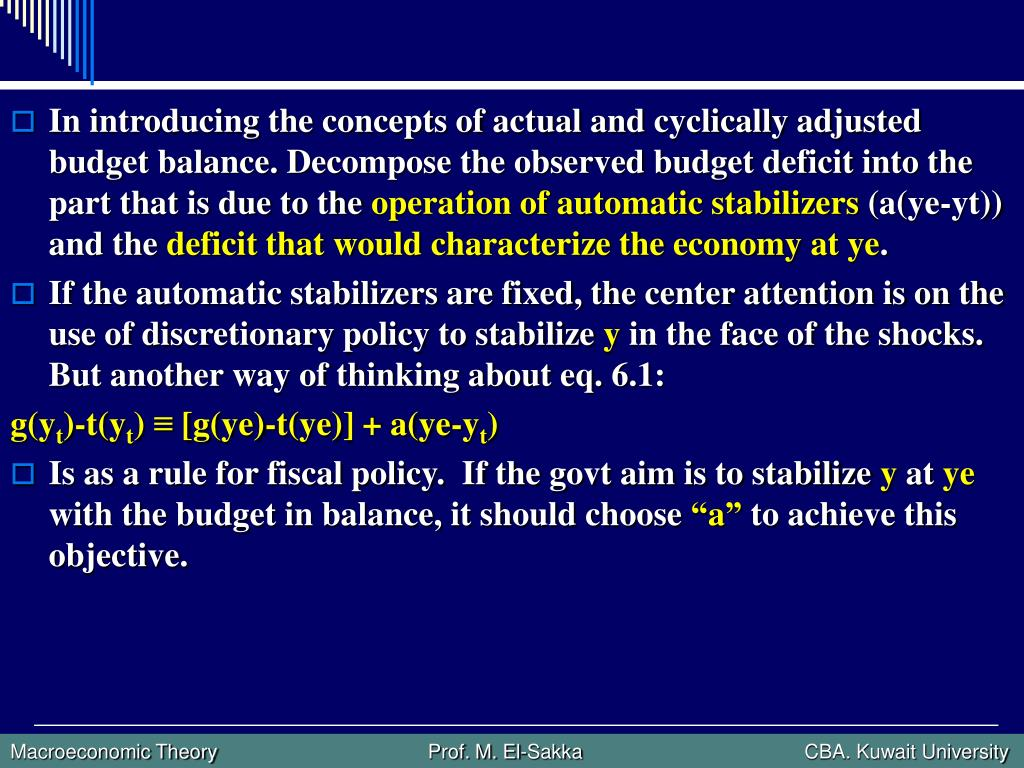 In introducing the concepts of actual and cyclically adjusted budget balance. Decompose the observed budget deficit into the part that is due to the
