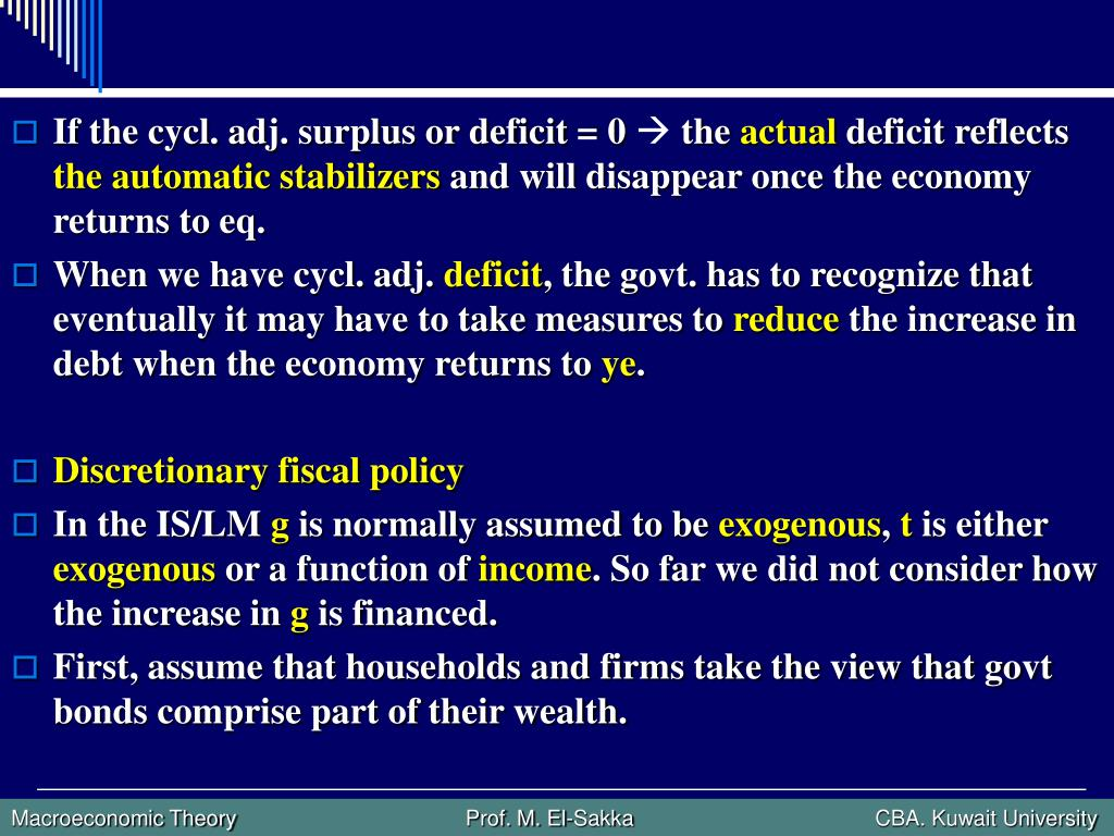 If the cycl. adj. surplus or deficit = 0