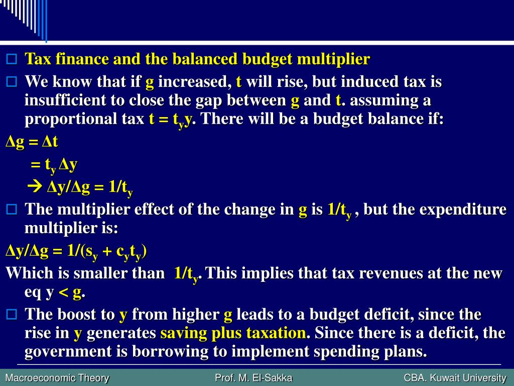 Tax finance and the balanced budget multiplier