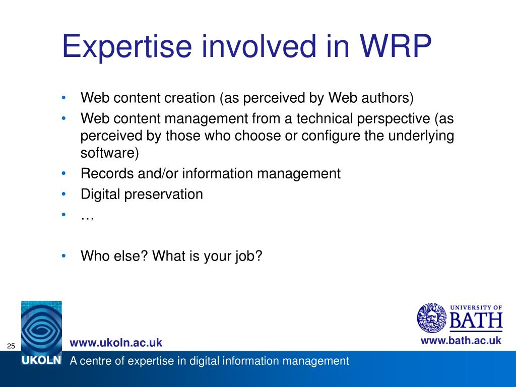 Expertise involved in WRP