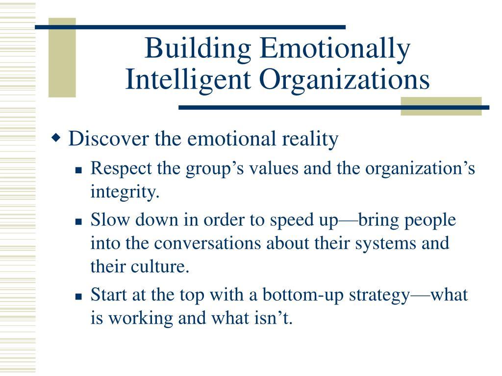 Building Emotionally Intelligent Organizations
