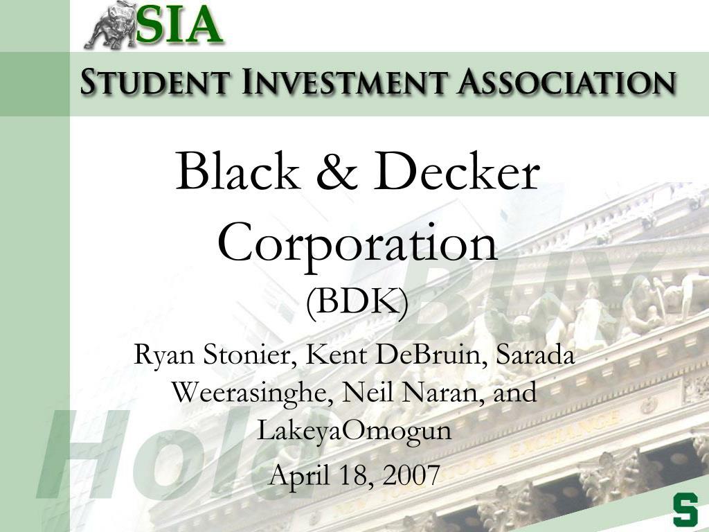 black decker corporation bdk l.