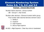 element numbering system rules 6 6 7 6 8 6 and 9 6