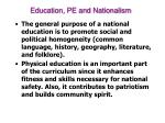 education pe and nationalism