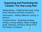 organizing and prioritizing the content the year long plan19
