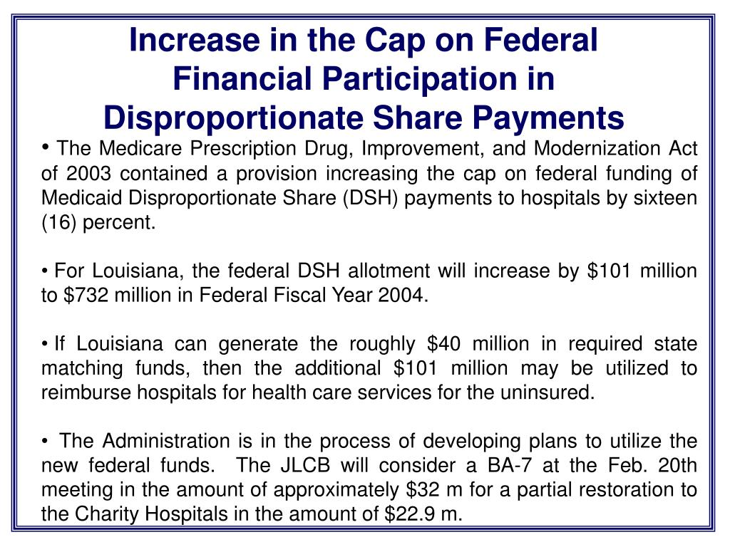 Increase in the Cap on Federal Financial Participation in Disproportionate Share Payments