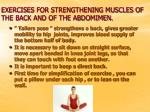 exercises for strengthening muscles of the back and of the abdomimen