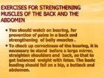 exercises for strengthening muscles of the back and the abdomen