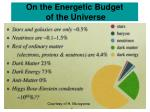 on the energetic budget of the universe