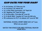 gssp dates for your diary