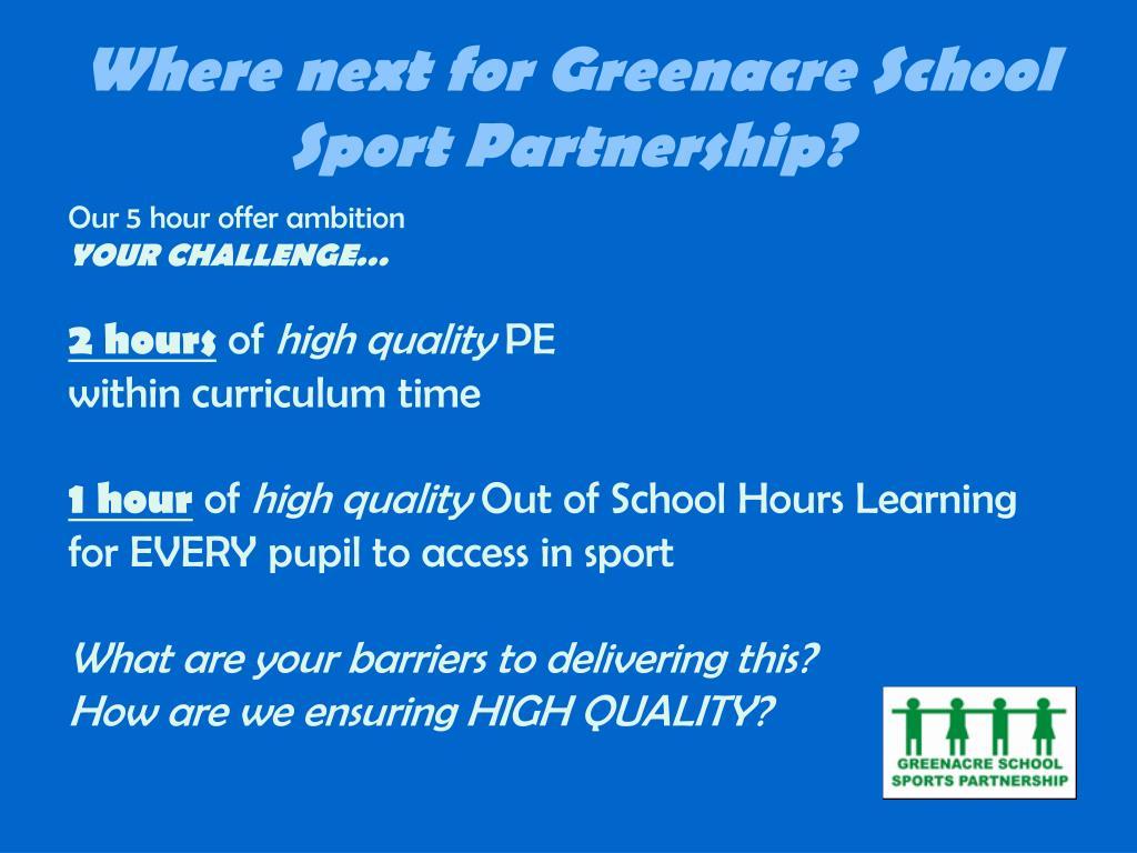 Where next for Greenacre School Sport Partnership?