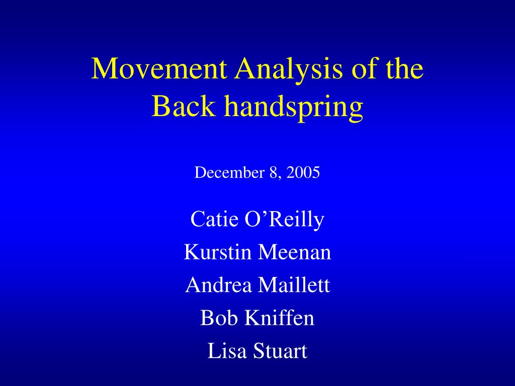 movement analysis of the back handspring l.