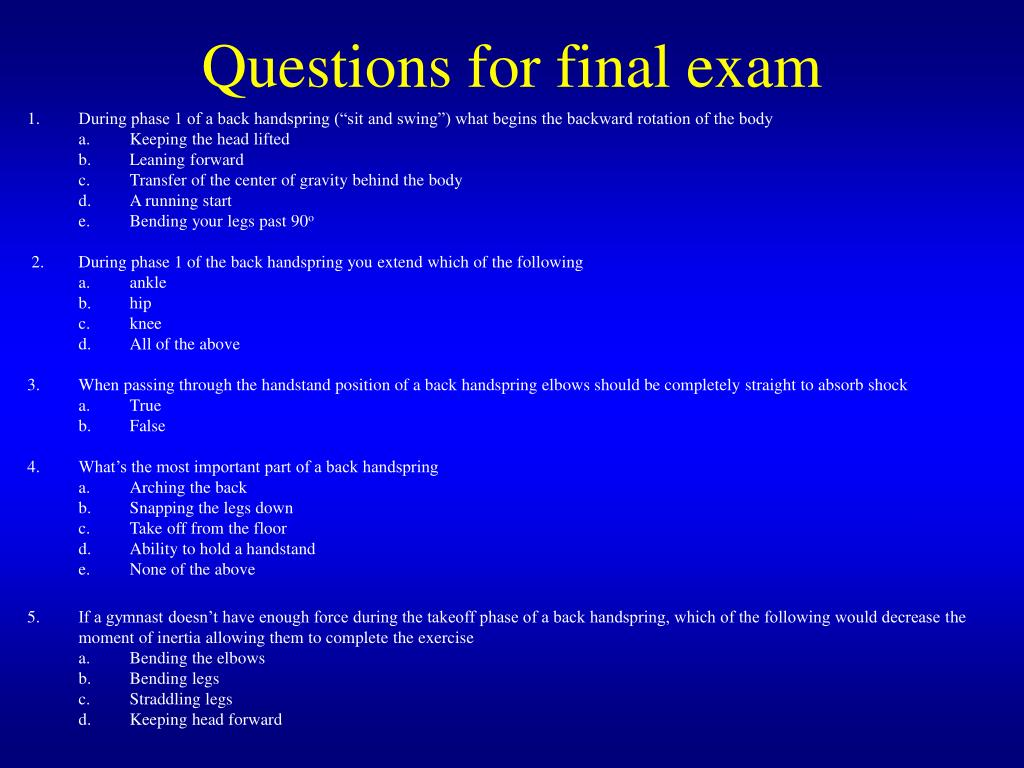 Questions for final exam