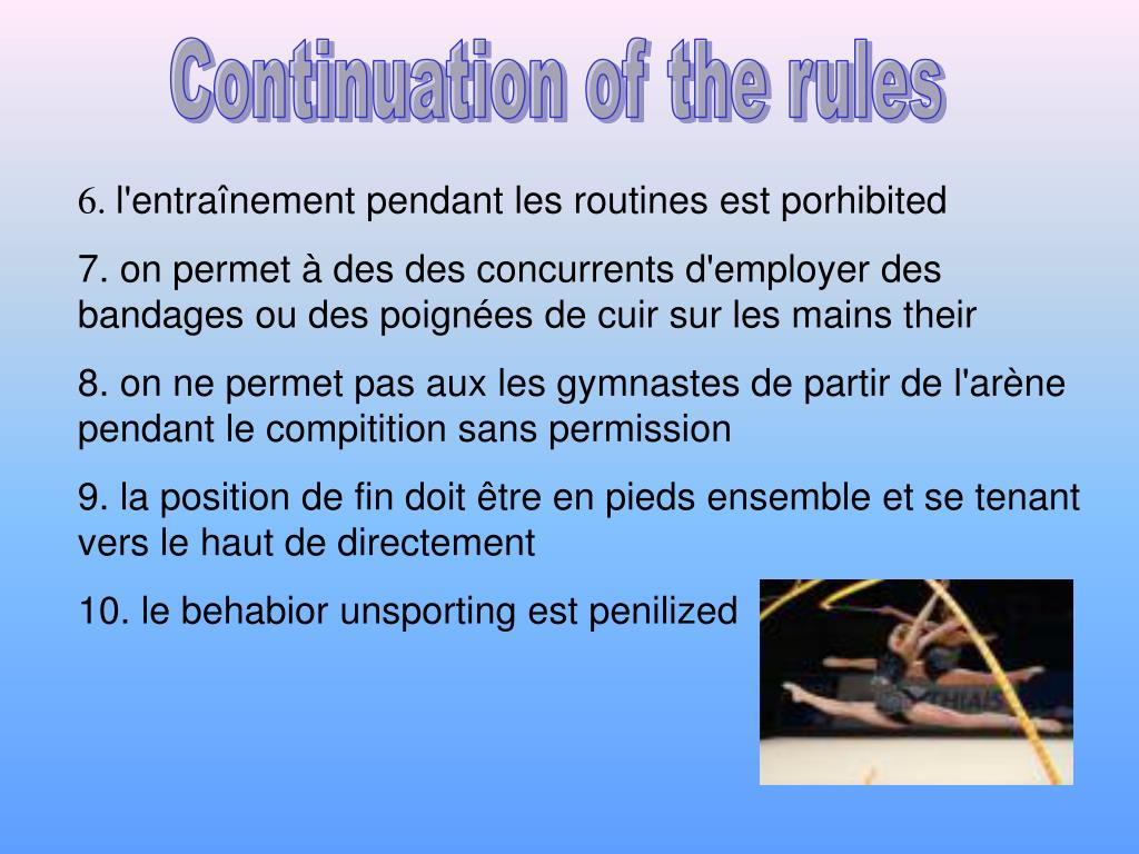 Continuation of the rules