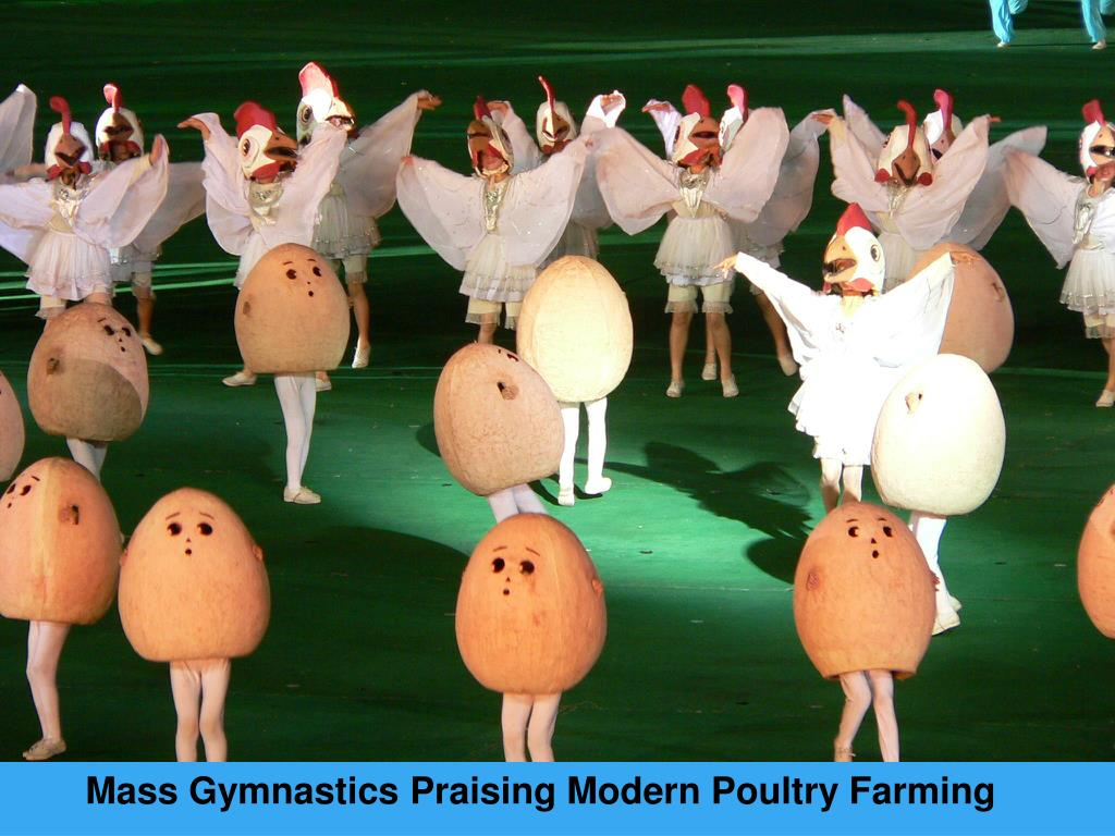 Mass Gymnastics Praising Modern Poultry Farming