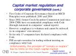 capital market regulation and corporate governance cont