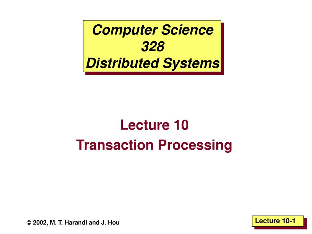 computer science 328 distributed systems l.