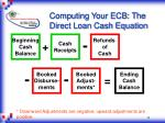 computing your ecb the direct loan cash equation