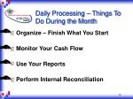 daily processing things to do during the month