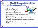 monthly reconciliation other reports and tools