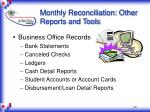 monthly reconciliation other reports and tools30
