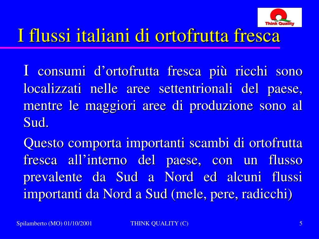 I flussi italiani di ortofrutta fresca