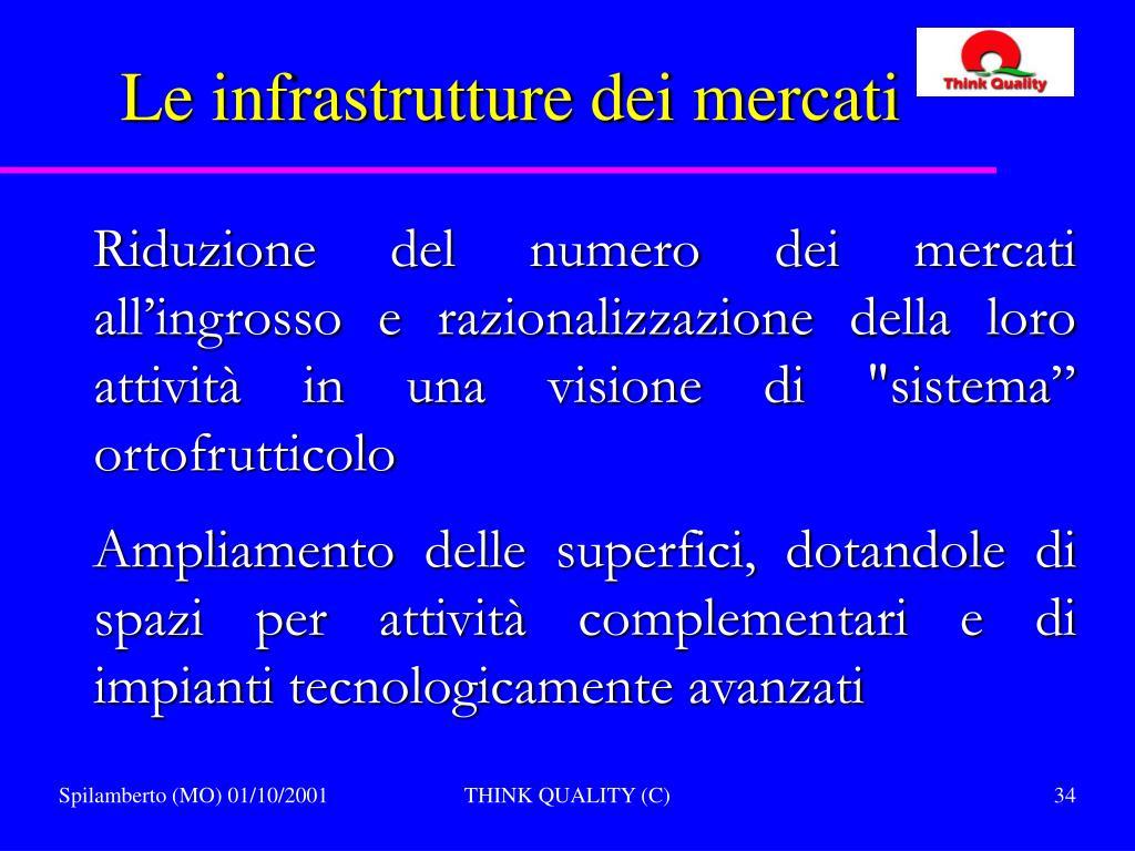 Le infrastrutture dei mercati