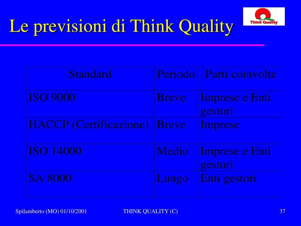 Le previsioni di Think Quality