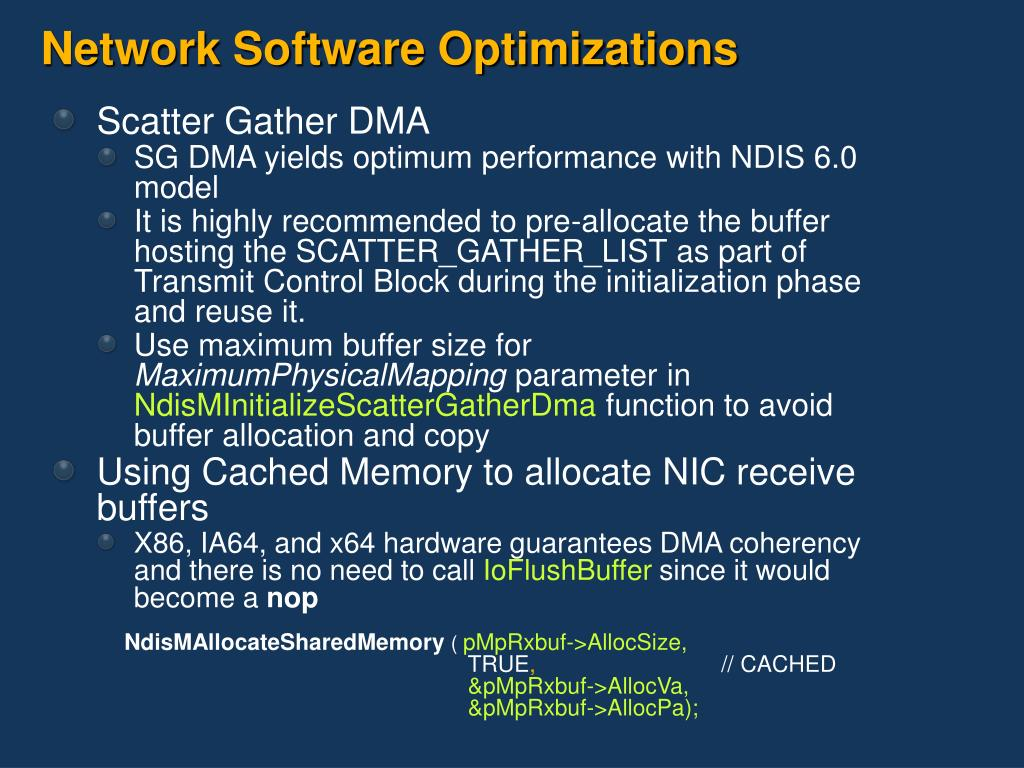 Network Software Optimizations