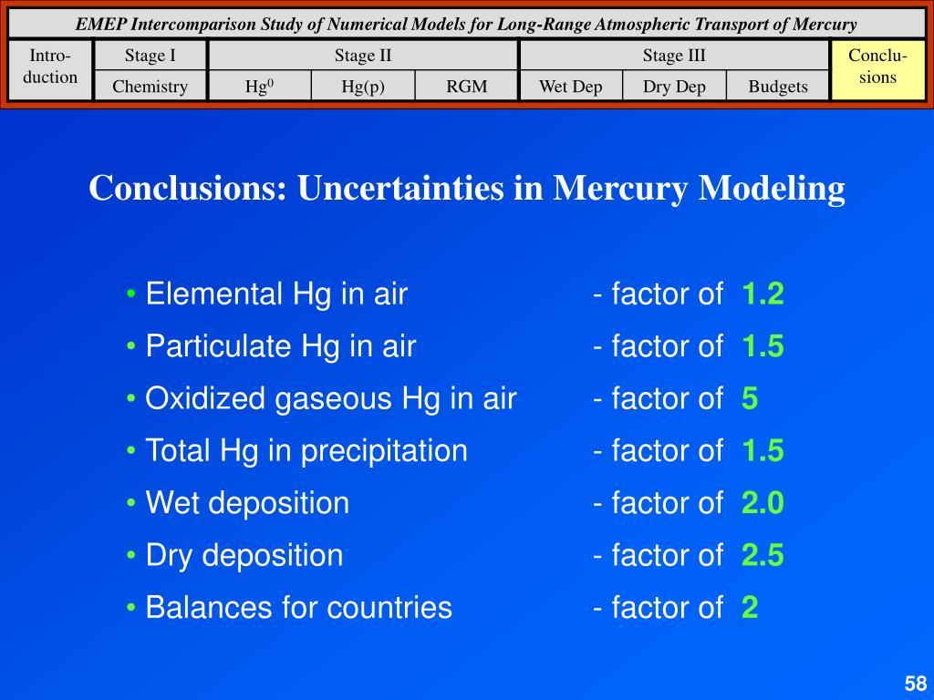 Conclusions: Uncertainties in Mercury Modeling
