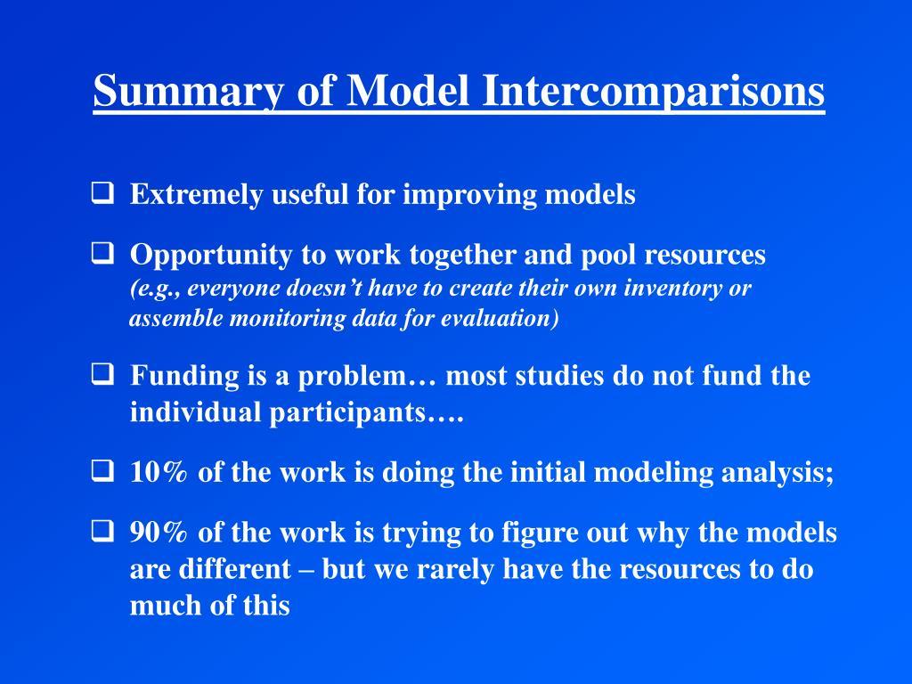 Summary of Model Intercomparisons