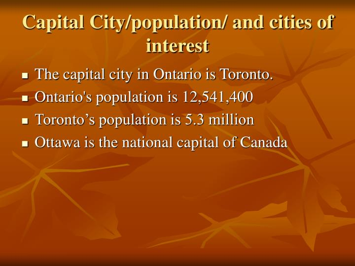 Capital city population and cities of interest